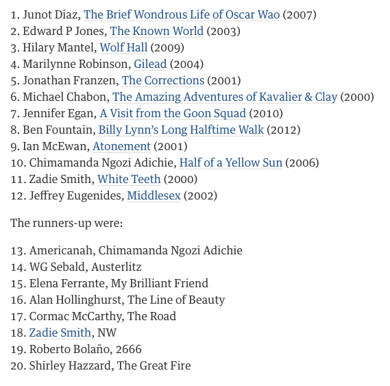 BBC Culture's list of the 12 greatest novels of the millennium