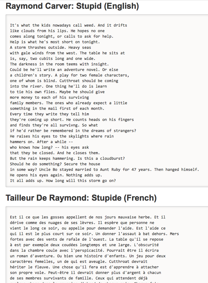 """Raymond Carver, """"Stupid"""" translated by World-Poetry Archive"""
